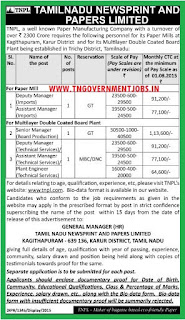 Applications are invited for various level managers and Plant Engineer in Paper Mill and MDCB Plants of TNPL Trichy