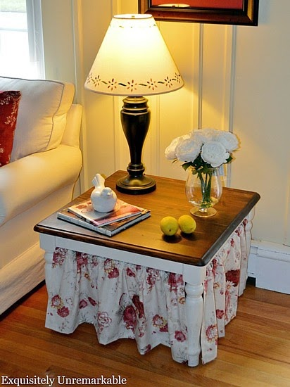Easy Skirted Table Tutorial @ Exquisitely Unremarkable