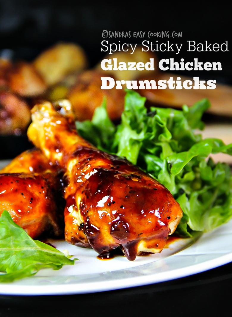 #Spicy Sticky Baked Glazed #Chicken Drumsticks #recipe