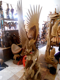 Wooden Eagle Carvings by Balinese Craftsmen