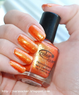 naglar, nails, nagellack, nail polish, orange, color club, sparkle and soar