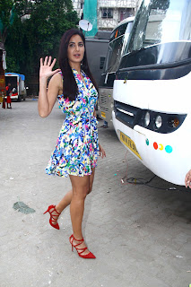 Katrina Kaif Promoting Movie Fitoor in a lovely Floral Short Dress and Red High Heels Stunning Beauty