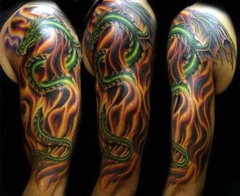 Fire and flame tattoos for men for Dragon fire tattoos
