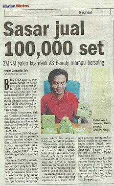 AS Beauty di Harian Metro ( sabtu 18 dis 2010 )