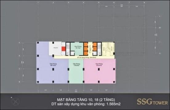Mặt bằng tầng 10 - 18 văn phòng SSG Tower