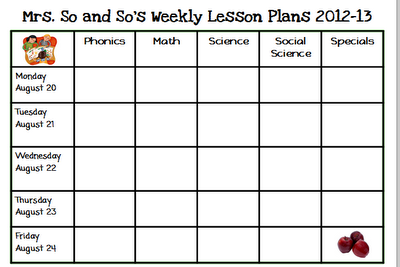 free weekly lesson plan template
