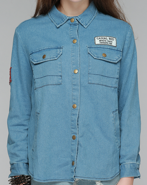Denim Shirt Jacket with Patches