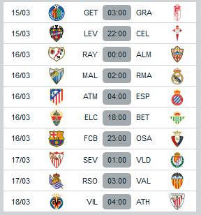 Jadwal la-liga-spanyol pekan ke-28 bulan maret 2014