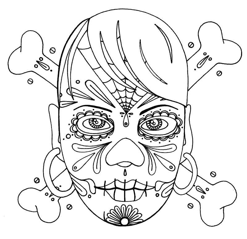 Wenchkin's coloring pages - girly skull and crossbones title=
