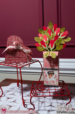 Rose bouquet box card and heart shaped box