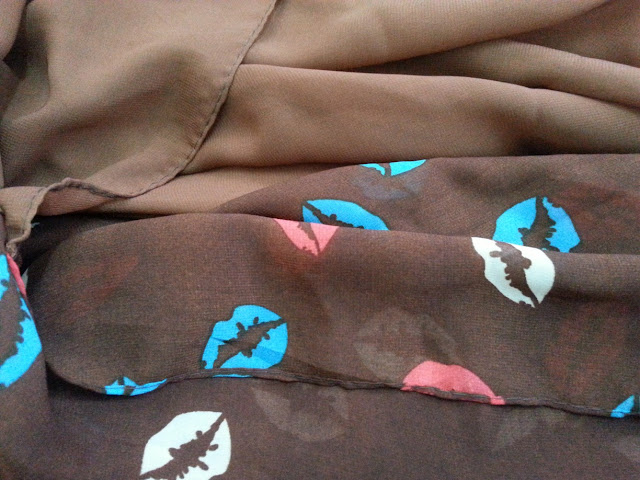 shawl chiffon 2 layer printed kiss brown