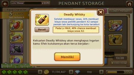 Trik Cara Mendapat Pendant S/S+ Deadly Whiskey Get Rich Gratis Terbaru