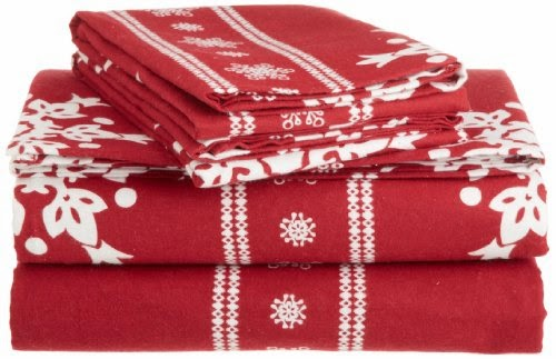 Pinzon Lightweight Cotton Flannel Sheet Set - Queen, Snowflake Bordeaux