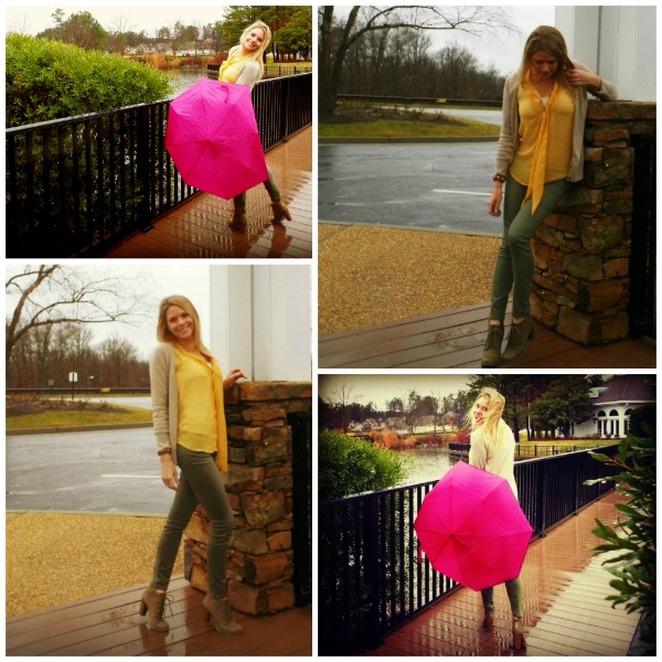 pink umbrella, yellow blouse, smiling in the rain, dancing in the rain