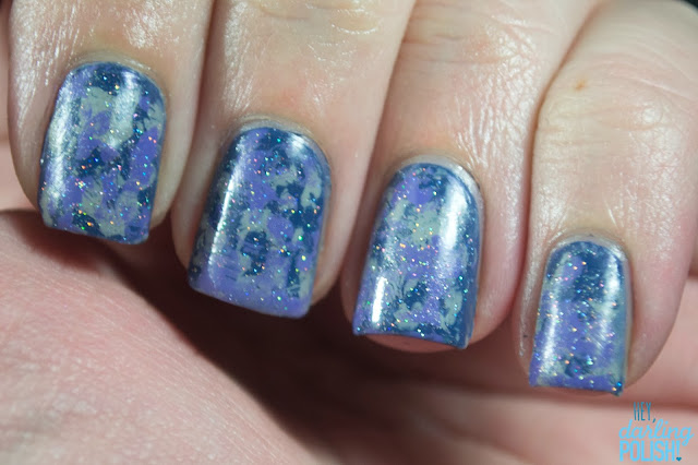 tri-polish challenge, nails, nail art, hey darling polish!, splotches, blue, purple, grey, fairy dust, china glaze