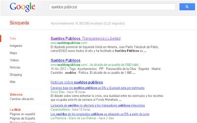 Sueldos Públicos ocupa el primer lugar en las búsquedas de Google