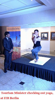 Tourism Minister checking out yoga, at ITB Berlin