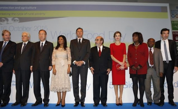 Queen Letizia of Spain and UN Secretary-General Ban Ki-moon and General Director of the FAO (UN's Food and Agriculture Organisation) Jose Graziano Da Silva attends the ceremony marking the 70th anniversary of FAO (UN's Food and Agriculture Organisation) the World Food Day