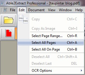 Able2Extract Professional select all pages