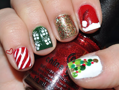 Imágenes de uñas navideñas fáciles