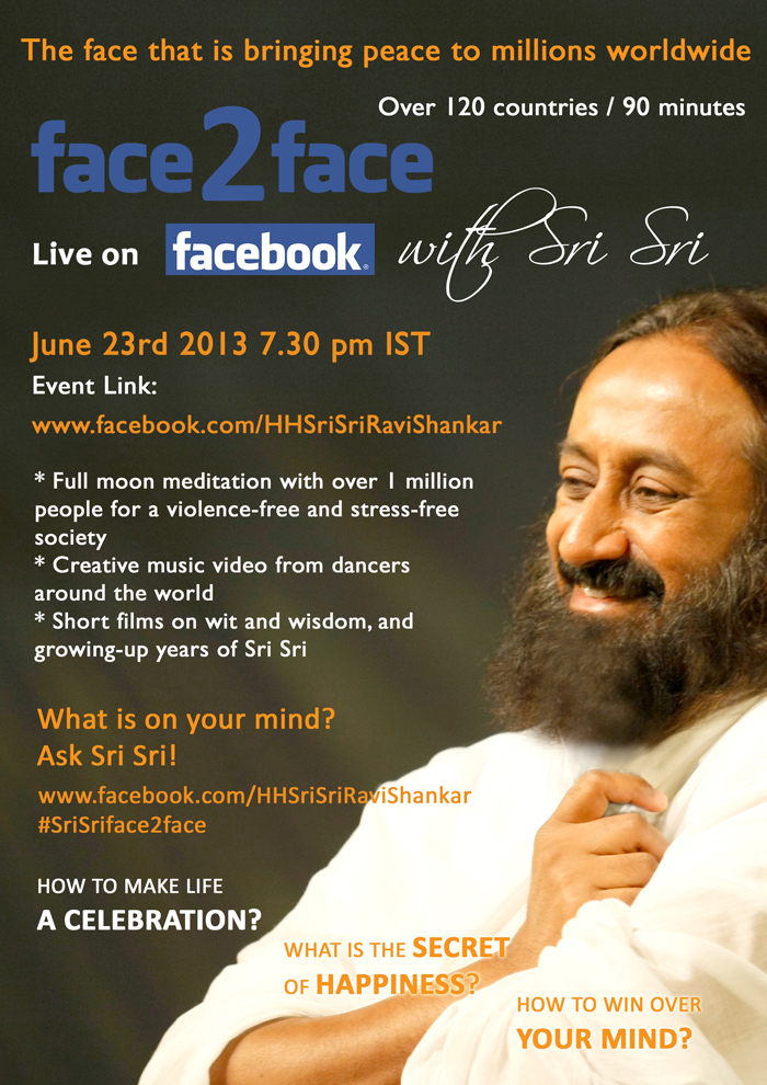 Face2face, live on facebook with Sri Sri Ravi Shankar | June 2013