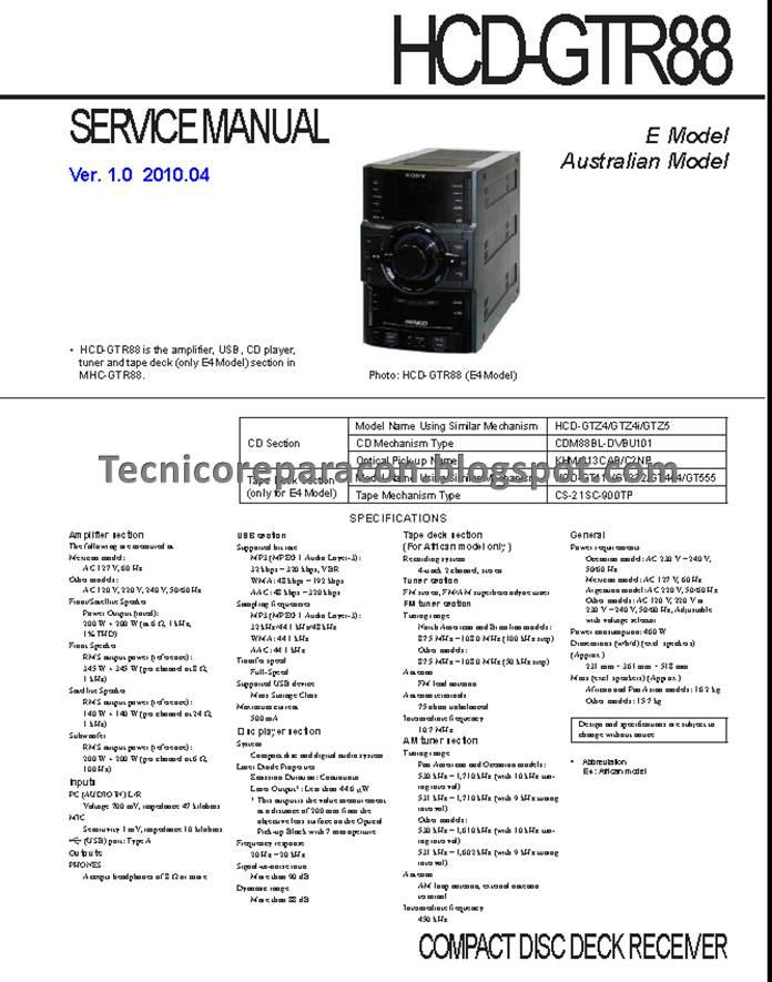Mhc-gtr88 Hcd-gtr88 Diagrama Sony Genezi