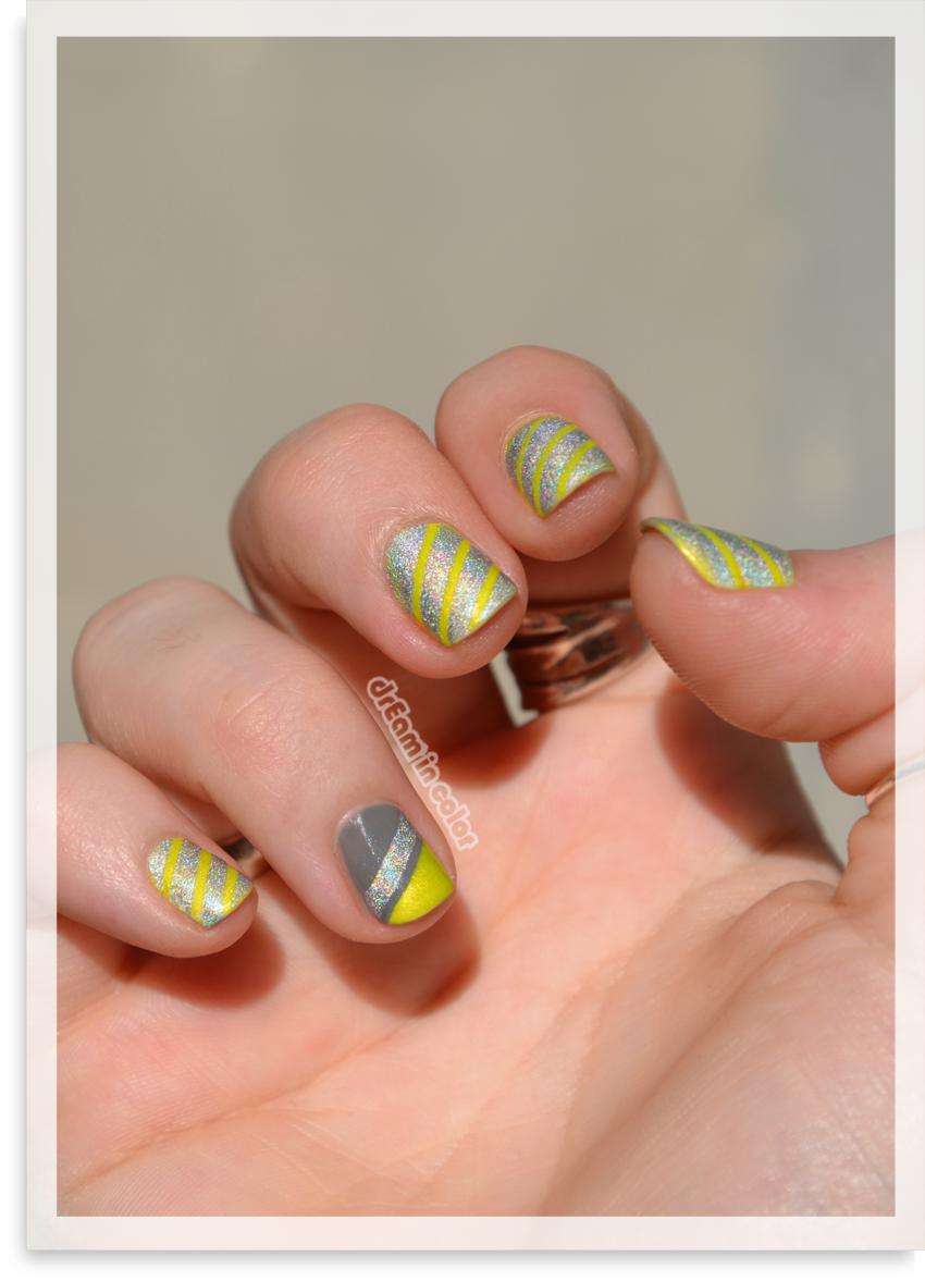 Nail art geometrique neon et holographique
