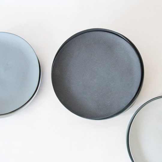 grey porcelain plates