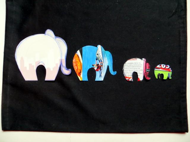 Elephant fabric print tote bag