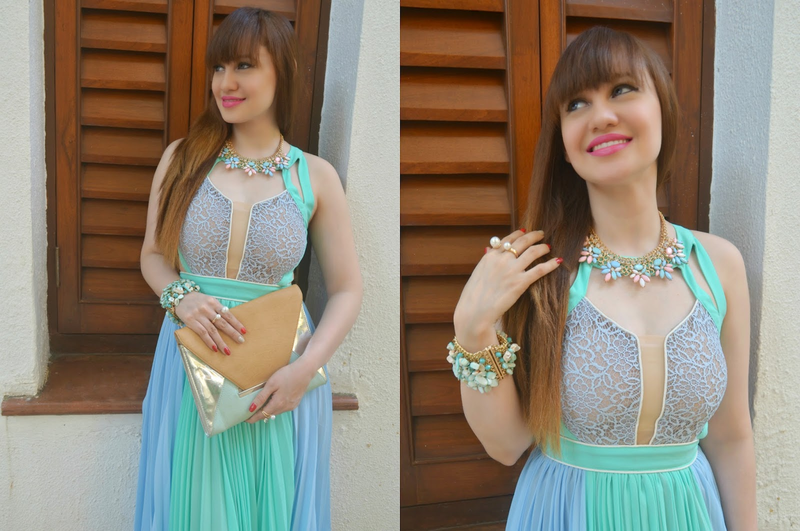 Blue Pleated Dress, pastel necklace, turquoise bracelt, pearl rings, Aldo envelope clutch