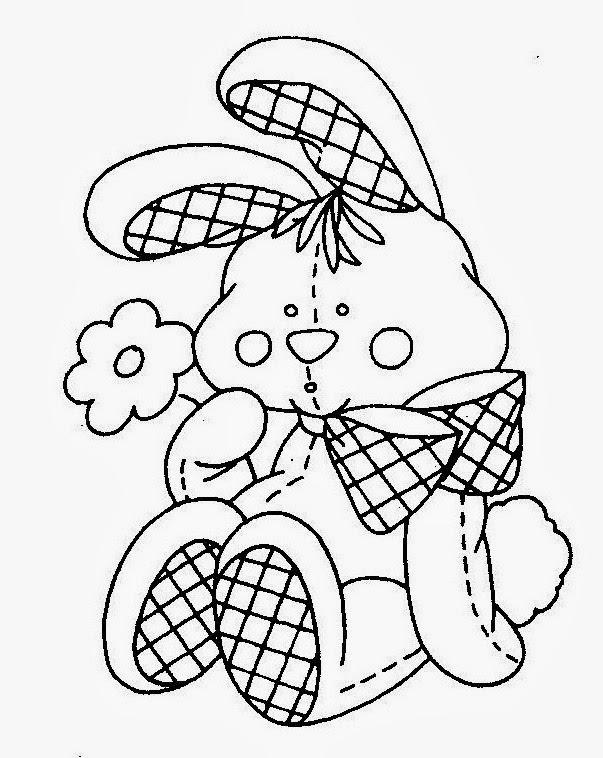 desenho de coelhinho de pano para pintar