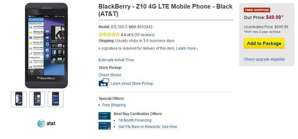 Best Buy cuts price of BlackBerry Z10 smartphone
