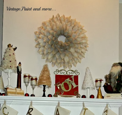 Book Page Wreath Tutorial - Christmas mantel showing large book page wreath