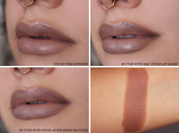nyx butter matte lipstick swatch review mac stone lip liner greige taupe brown 90s lips