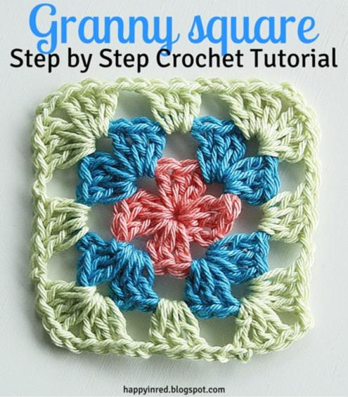 Granny square haken, uitleg | Granny square crochet tutorial | Happy in Red