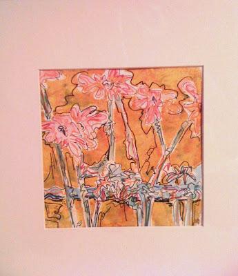 gelli print, mono print, daisy painting, Robin Baratta