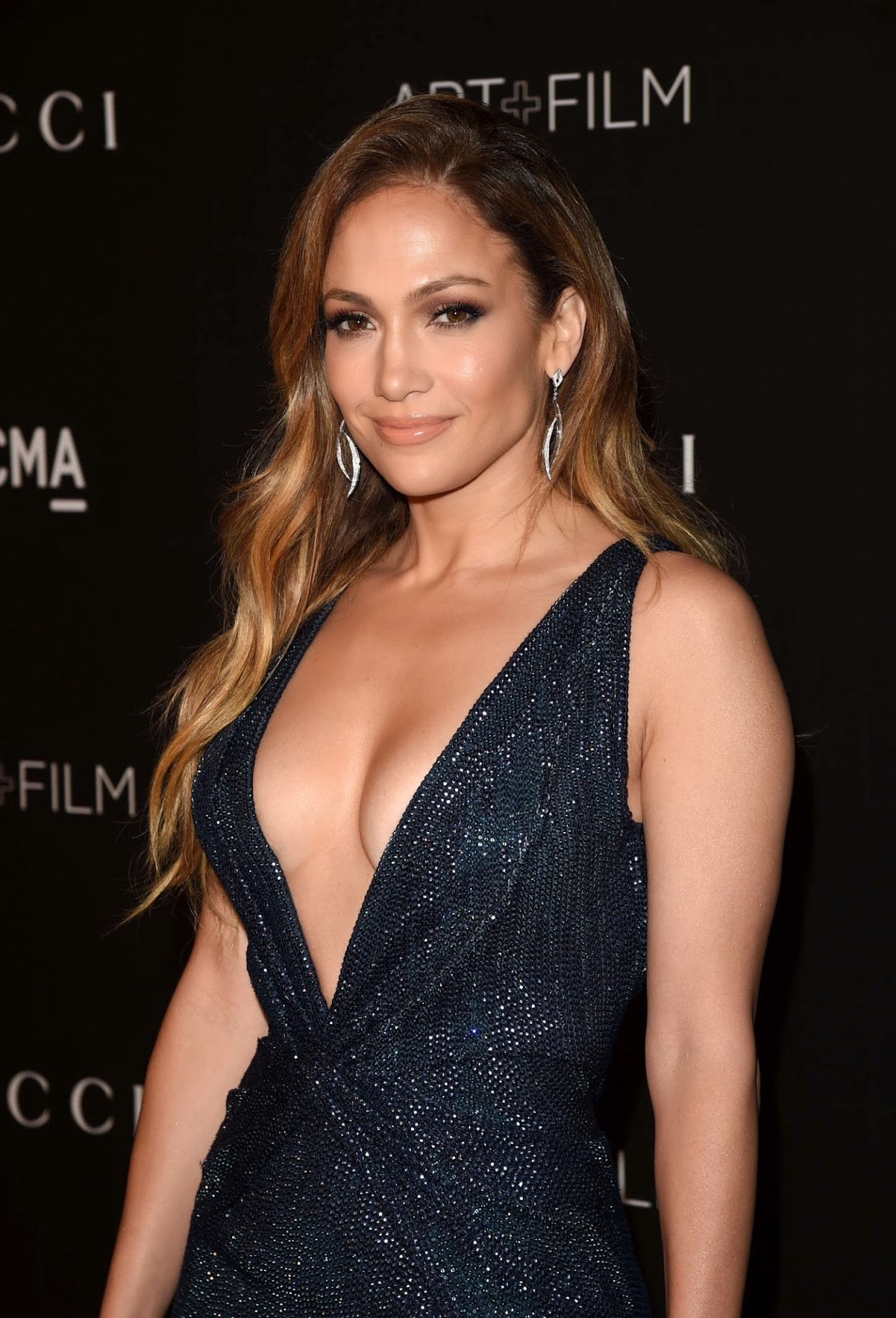 Jennifer Lopez in a plunging sequinned Gucci gown at the 2014 LACMA Art + Film Gala