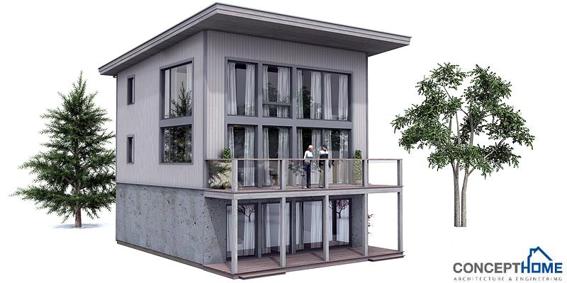 Contemporary house plans small modern house plan ch99 for Beach house plans 3 floors