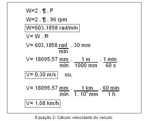 Cálculo de velocidade do veículo