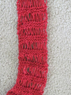 close up red lace scarf