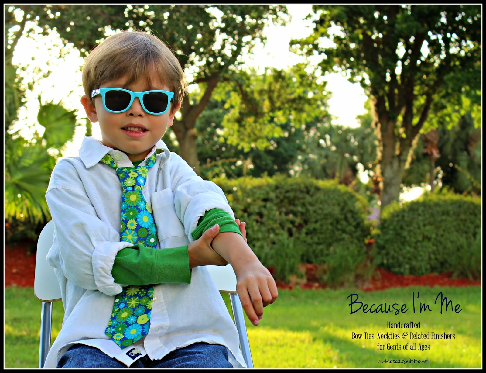 Because I'm Me blue green fun floral necktie, for men and boys, from $18