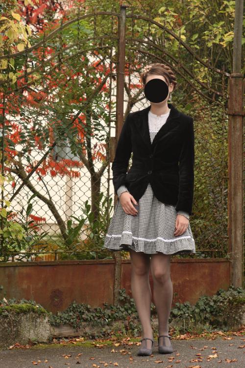 ootd, outfit, grey, black, lolita, vintage, retro, handmade, velvet, Deichmann, autumn