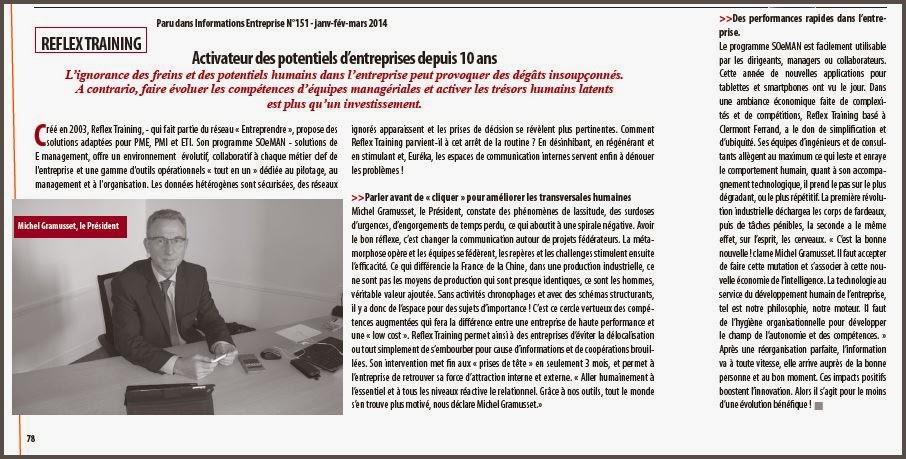 Paru dans Informations Entreprise N°151, Janvier, Février, Mars 2014