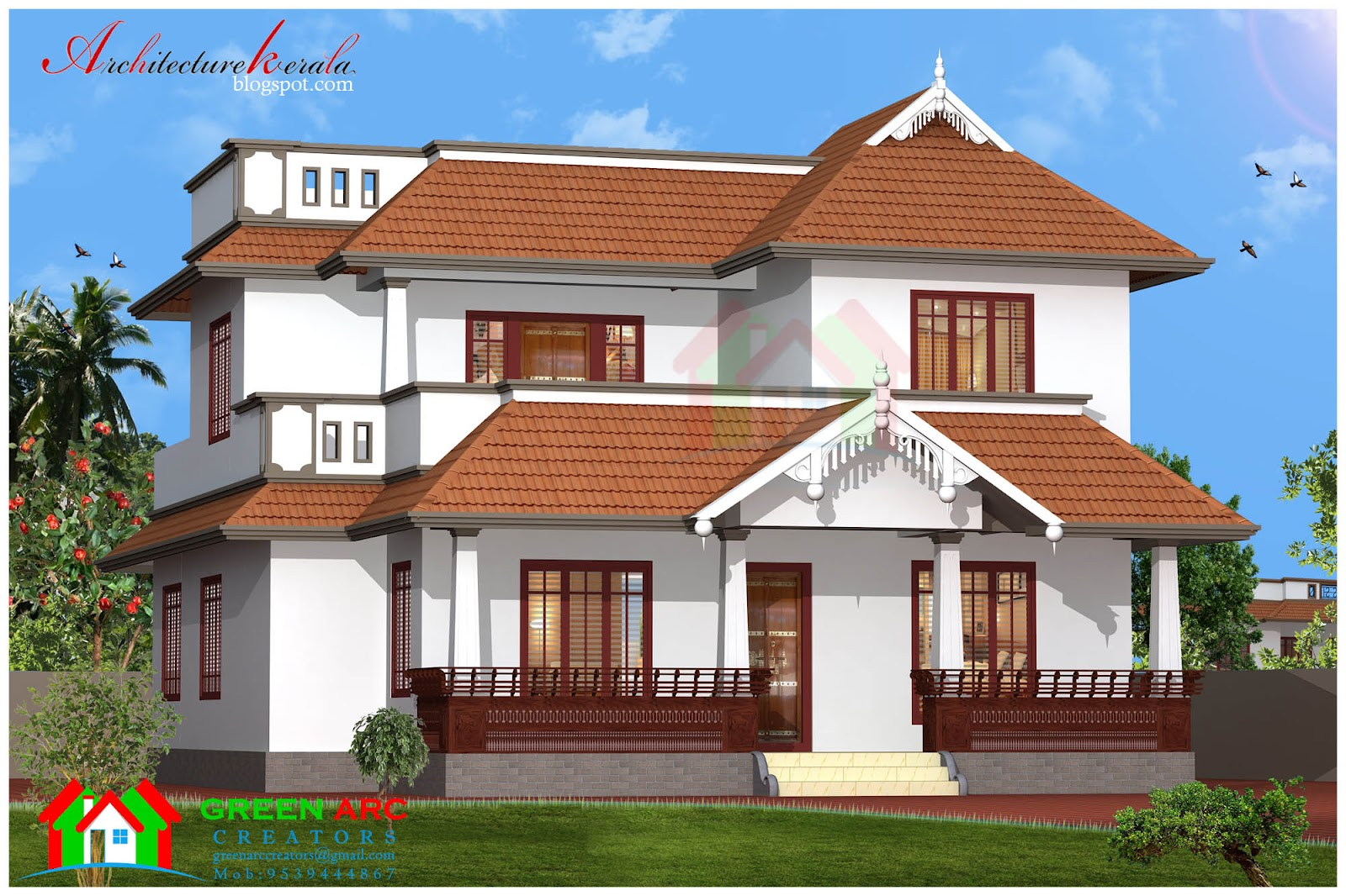 Traditional style kerala house plan and elevation for Kerala style home designs and elevations