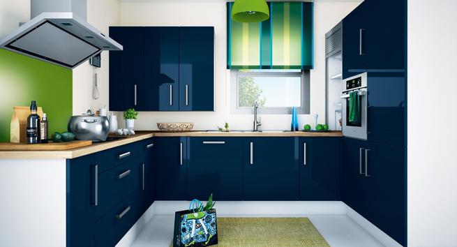 Dise os de cocinas modernas color azul ideas para for Cocinas reposteros modernos