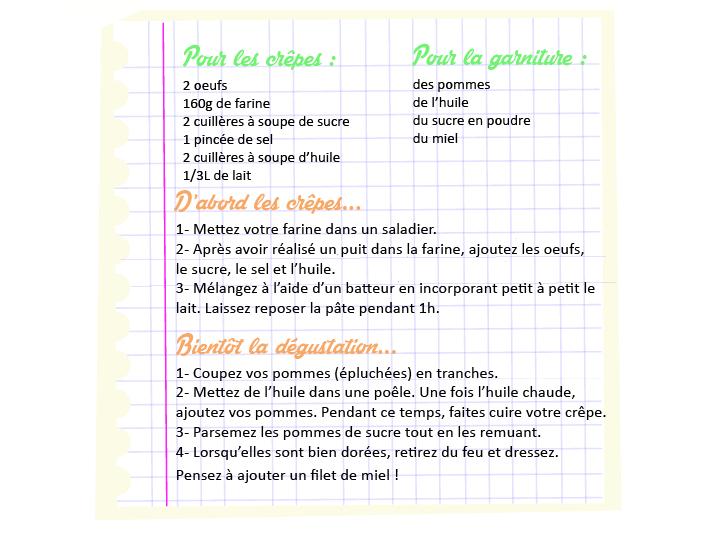 recette chandeleur crêpes aux pommes caramélisées et miel