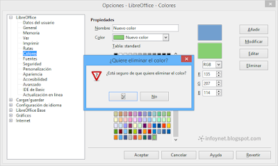 Eliminar un color en LibreOffice