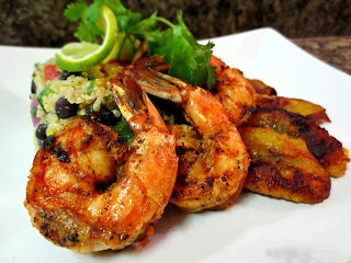 Mexican Quinoa Salad and Grilled Prawn