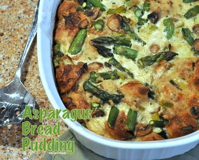 Asparagus Whole Wheat Bread Pudding ♥ KitchenParade.com, rustic, savory bread pudding, studded with fat spears and asparagus and cheese. Vegetarian, WW8.