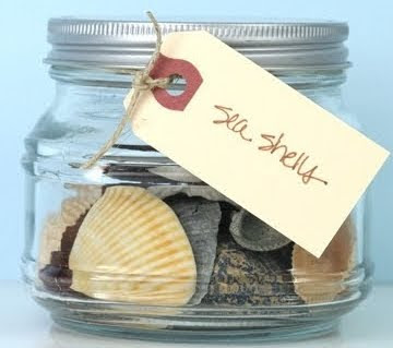 glass jar with shells